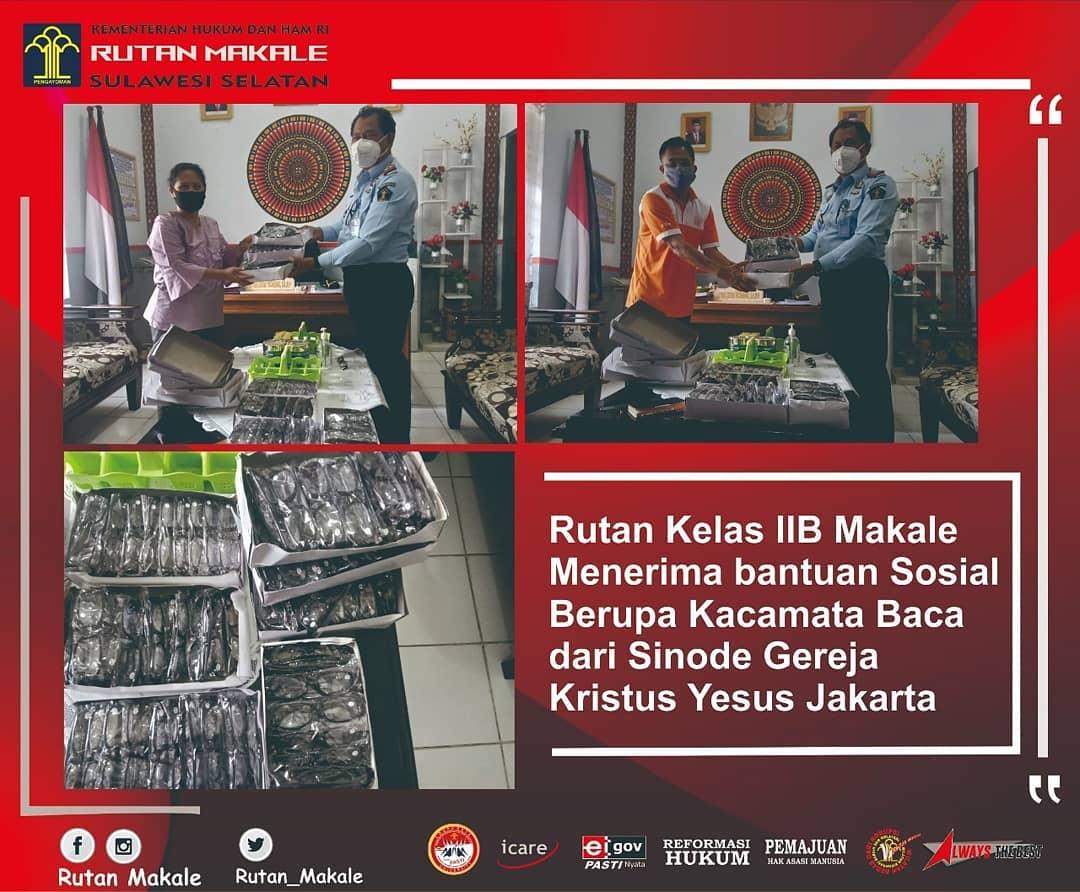 Rutan Makale Terima Kacamata Baca dari Gereja Kristus Yesus Jakarta