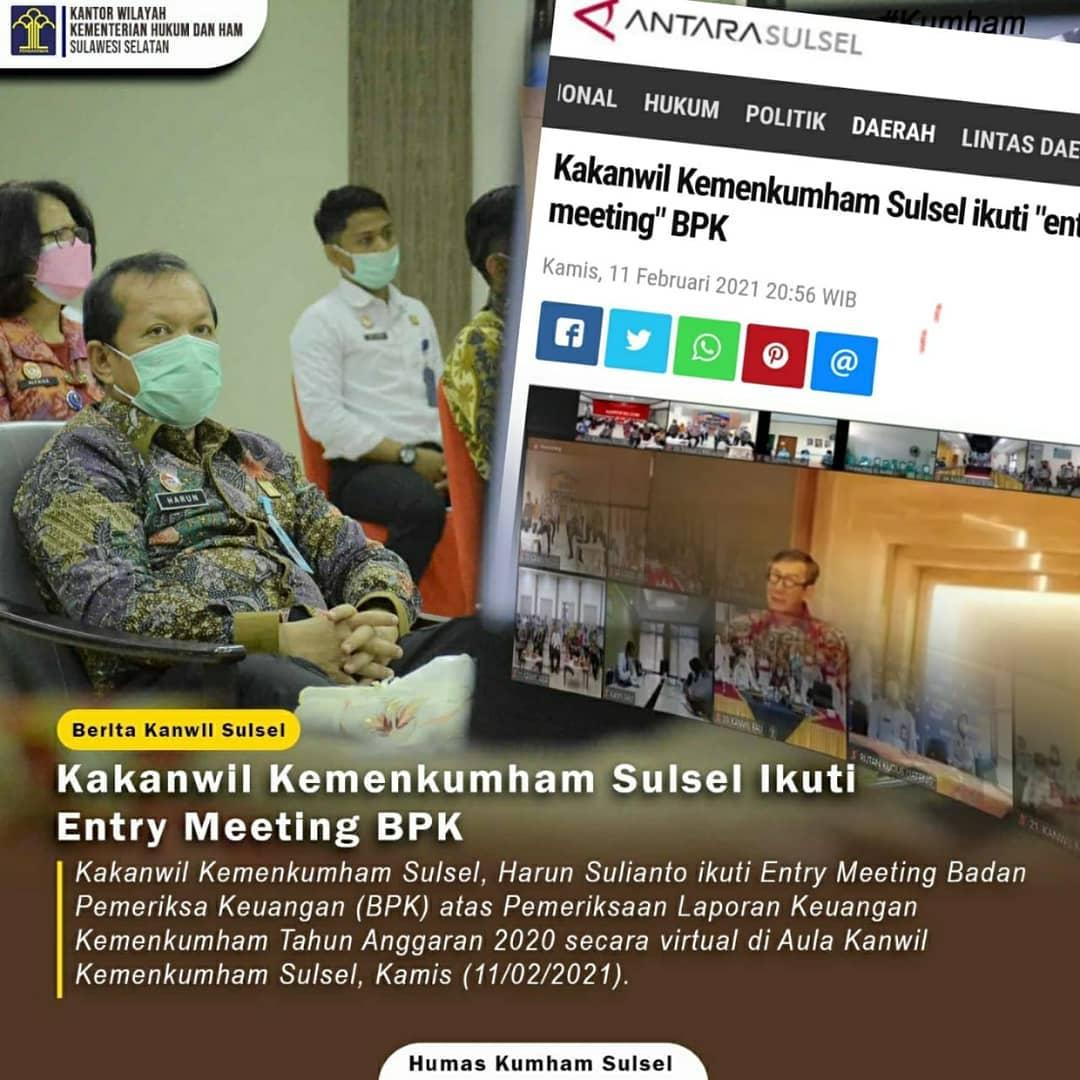"Kakanwil Kemenkumham Sulsel ikuti ""entry meeting"" BPK"